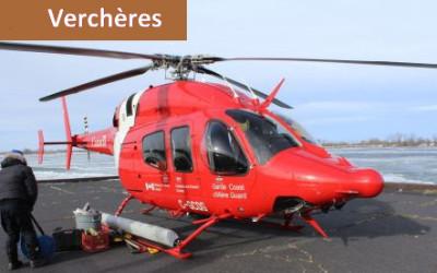 Un hélicoptère de la garde côtière sur le quai de Verchères