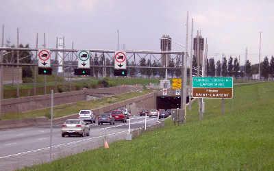 Fermeture du pont-tunnel Louis-Hippolyte-La Fontaine direction nord