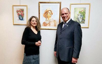 L'aquarelliste Linda Papa expose ses oeuvres au bureau de Stéphane Bergeron
