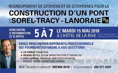 Un pont entre Sorel-Tracy et Lanoraie à l'horizon 2028: Invitation pour un 5 à 7 d'information et d'appui