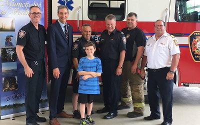 La Municipalité de Verchères et le Service de Sécurité Incendie remettent un certificat de bravoure au jeune Brayden Trottier