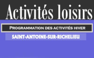 Saint-Antoine-sur-Richelieu: activités récréatives hiver-printemps 2019