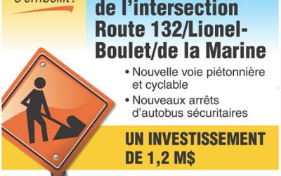 Varennes: réaménagement  de  l'intersection  de  la  route  132  et  des  boulevards  Lionel-Boulet et de la Marine