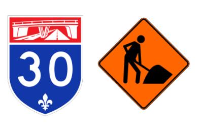 Autoroute 30 à Saint-Bruno-de-Montarville, entre la route 116 et l'autoroute 20: début d'un chantier d'asphaltage – Travaux de nuit