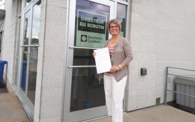 Richelieu: Sophie Chevalier dépose officiellement son bulletin de candidature auprès d'Élections Québec et poursuit son engagement