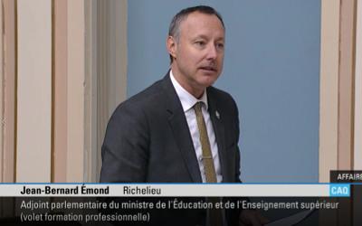 Inondations printanières: le député Jean-Bernard Émond souligne le courage des sinistrés à l'Assemblée nationale et leur réitère son soutien