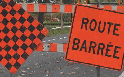 Route 133, à Mont-Saint-Hilaire: début d'un chantier d'asphaltage sur le chemin des Patriotes Nord