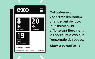 EXO: des panneaux d'arrêts d'autobus plus lisibles et faciles à décoder