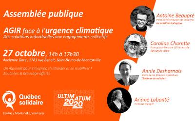 AGIR FACE À L'URGENCE CLIMATIQUE: QUÉBEC SOLIDAIRE BORDUAS, MONTARVILLE ET VERCHÈRES S'UNISSENT POUR L'ULTIMATUM 2020