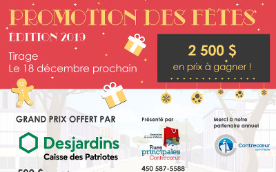 Rues principales Contrecoeur: « Promotion des fêtes 2019 » – Plus de 2 500 $ en prix à gagner