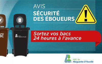 MRC de Marguerite-D'Youville: sécurité des éboueurs, sortez vos bacs 24 heures d'avance