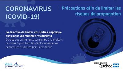 COVID-19:  RECYC-QUÉBEC poursuit ses activités et invite la population à prendre certaines précautions