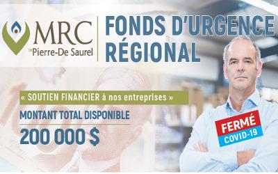 Fonds d'urgence régional: allègement des critères et sommes toujours disponibles pour aider les entreprises de la MRC de Pierre-De Saurel