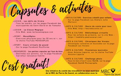 Un calendrier loisir & culture pour égayer les journées dans la MRC de Pierre-De Saurel