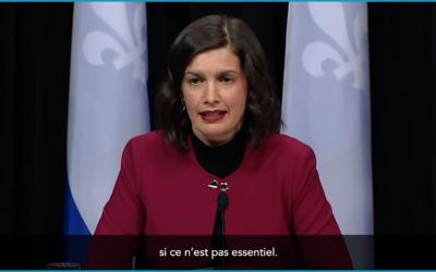 Pandémie de la COVID-19: la vice-première ministre, Geneviève Guilbault, annonce le retrait graduel de certains points de contrôle dans les régions du Québec