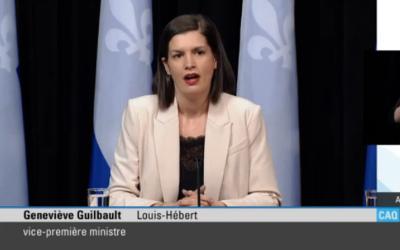 Pandémie de la COVID-19: la vice-première ministre, Geneviève Guilbault, annonce la mise en place de nouveaux points de contrôle policier sur deux territoires