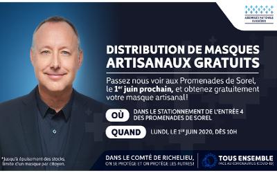Lundi, 1er juin: distribution de masques