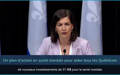 Pandémie de la COVID-19: Québec présente un plan d'action en santé mentale pour aider tous les Québécois