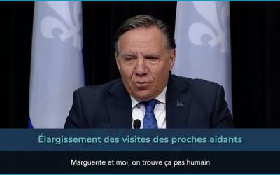 Pandémie de la COVID-19: Québec annonce certains assouplissements pour les usagers des résidences pour aînés