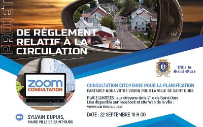 Consultation citoyenne par visioconférence: la population invitée à se prononcer sur le projet de règlement relatif à la circulation