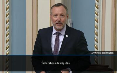 Dans une déclaration prononcée au Salon Bleu: le député Jean-Bernard Émond rend hommage au producteur agricole Gérard Préfontaine