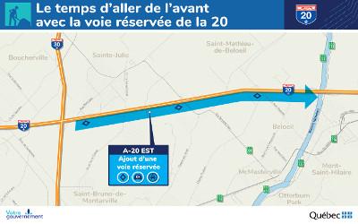 Le gouvernement va de l'avant avec l'ajout d'une voie réservée sur l'autoroute 20, en direction est
