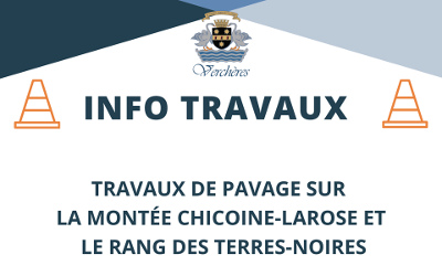 Municipalité de Verchères: travaux sur la montée Chicoine-Larose et le rang des Terres-Noires