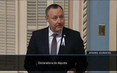Le député Jean-Bernard Émond rend un hommage posthume à l'ancien maire de Tracy, Émile Parent, dans une déclaration prononcée à l'Assemblée nationale du Québec