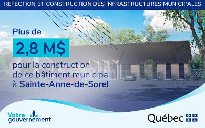 Le député Jean-Bernard Émond annonce le financement du nouveau centre de services municipaux de la municipalité de Sainte-Anne-de-Sorel