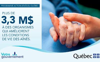 Programme Action Aînés du Québec: plus de 3,3 M$ pour soutenir le développement d'activités destinées aux aînés