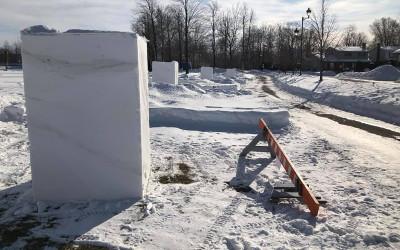 Contrecoeur: nouvelle activité familiale ! Sculpture sur bloc de neige