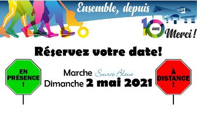 L'édition 2021 de la Marche Source Bleue se tiendra à distance: soyons tous unis par le cœur le 2 mai prochain