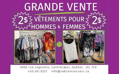 Centre d'action bénévole de Contrecoeur: grande vente à 2$