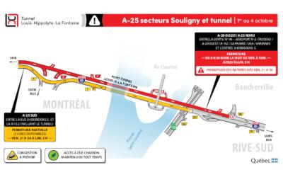 Fermeture complète du tunnel Louis-Hippolyte-La Fontaine en direction de Montréal, fin de semaine du 1er au 4 octobre