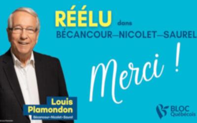 Bécancour—Nicolet—Saurel: une autre victoire claire pour Louis Plamondon