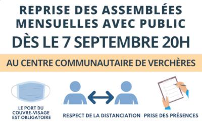 Municipalité de Verchères: reprise des assemblées mensuelles avec public