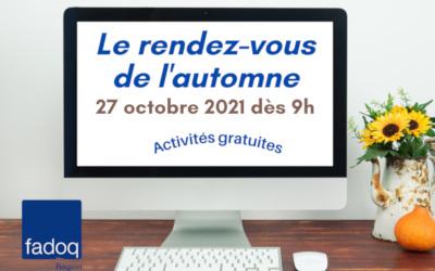 FADOQ – Région Richelieu-Yamaska: le rendez-vous virtuel de l'automne